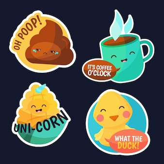 Hand-drawn funny sticker set