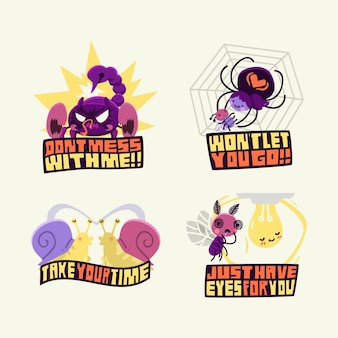 Hand-drawn funny stickers concept