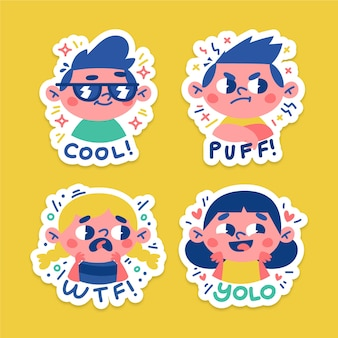 Hand drawn funny stickers with faces pack