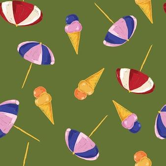手描きの面白い夏の時間のビーチパラソルとアイスクリームのシームレスなパターン。