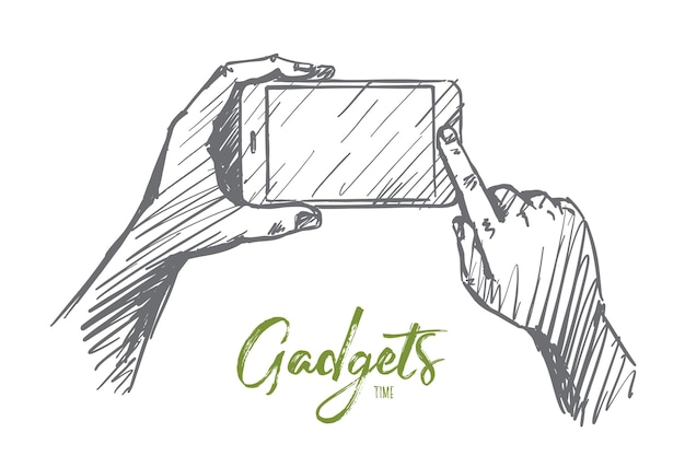 Hand drawn gadgets time concept sketch