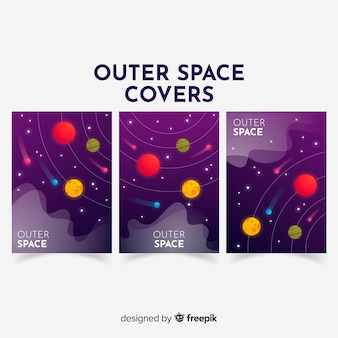 Hand drawn galaxy banner template