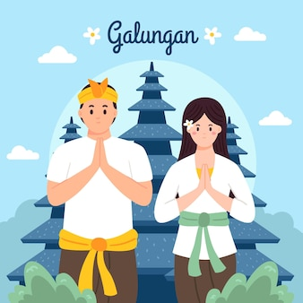 Hand drawn galungan illustration