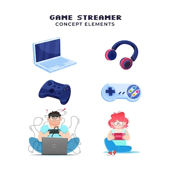 Hand drawn game streamer concept elements