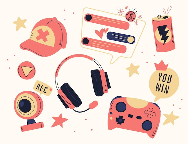 Hand drawn game streamer elements collection