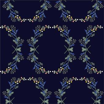 Hand drawn garden floral wreath pattern seamless  texture.