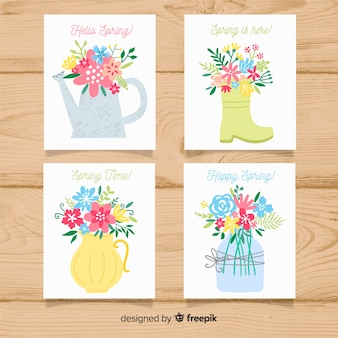 Hand drawn gardening elements spring card collection