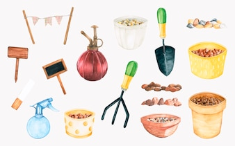 Hand drawn gardening tools set