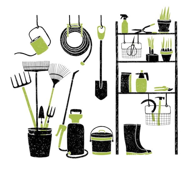 Hand drawn gardening tools storing on shelving, standing and hanging beside it on white