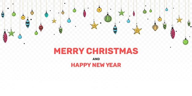 クリスマスつまらないものの手描きの花輪。クリスマスと新年のご挨拶
