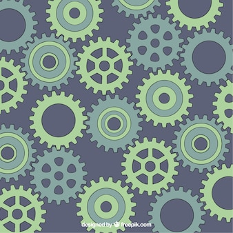 Hand drawn gear background in green tones