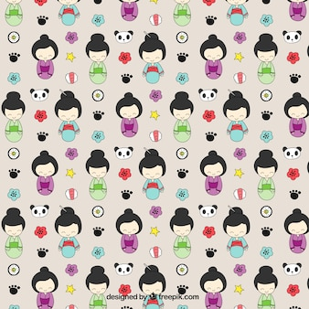Hand drawn geishas pattern