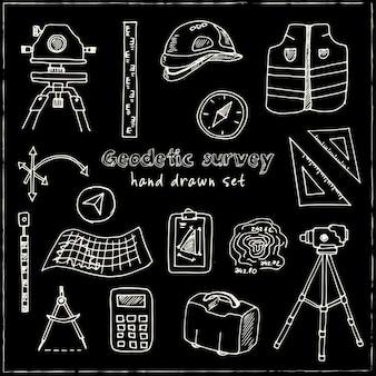 Hand drawn geodetic survey set