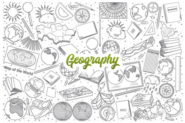 Hand drawn geography doodle set background with green lettering