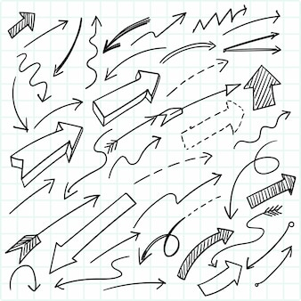 Hand drawn geometric doodle arrow set design
