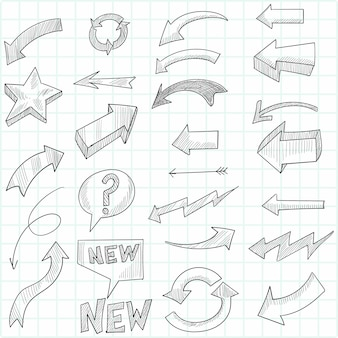 Hand drawn geometric doodle arrow set sketch