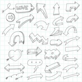 手描きの幾何学的な落書きの矢印セット