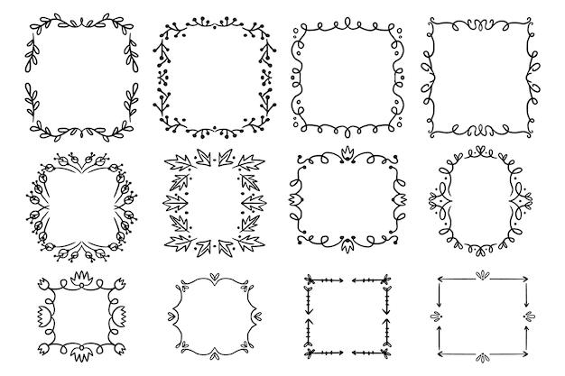 手描きの幾何学的な落書きフレームコレクション