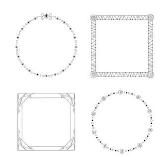 Набор рисованной геометрической каракули рамки