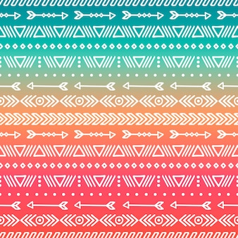 Hand drawn geometric ethnic tribal seamless pattern. Doodles style. Boho stripes