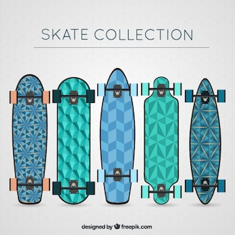 Hand drawn geometrical skateboards