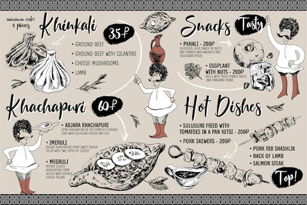 Hand drawn georgian menu cuisine vector khinkali khachapuri hot dishes georgian men character