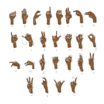 Hand drawn gesture language alphabet