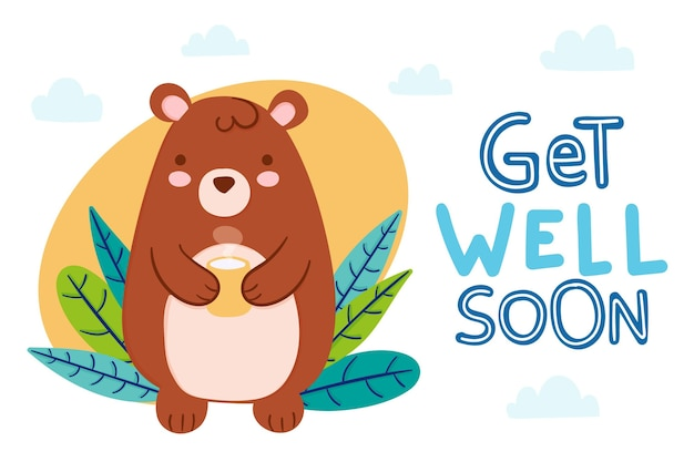 Hand drawn get well soon illustration with bear