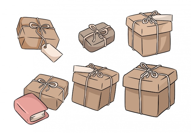 Hand drawn gift boxes doodles set