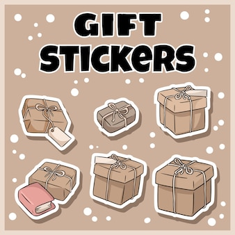 Hand drawn gift boxes stickers set