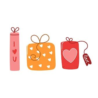 Ручной обращается подарочные коробки с сердцем на день святого валентина. подарок с концепцией любви. плоская иллюстрация