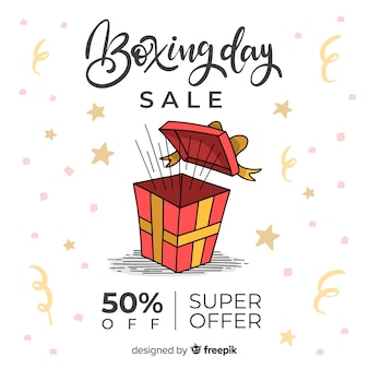 Hand drawn gift boxing day sale background