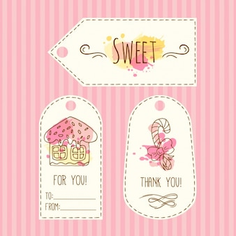 Hand drawn gift label  with sweets