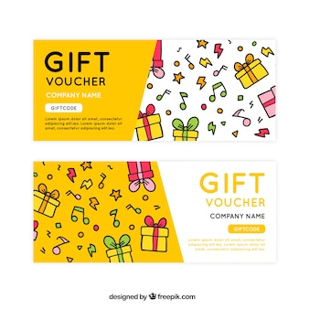Hand-drawn gift vouchers with decorative musical notes