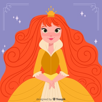 Hand drawn ginger princess illustration
