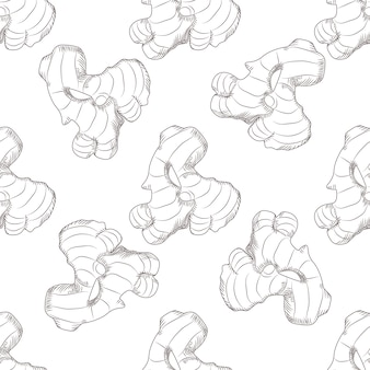 Hand drawn ginger root seamless pattern. engraving style.