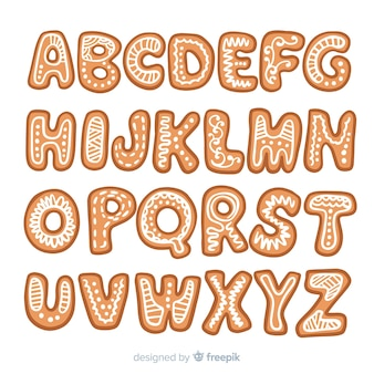 Hand drawn gingerbread alphabet