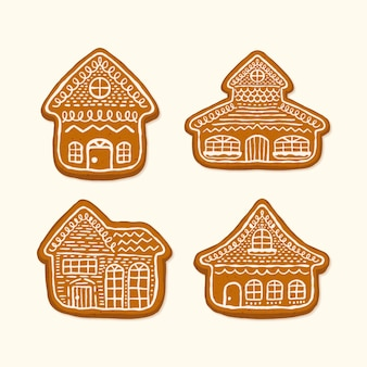 Hand drawn gingerbread house collection