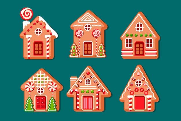 Collezione di casa di marzapane disegnata a mano