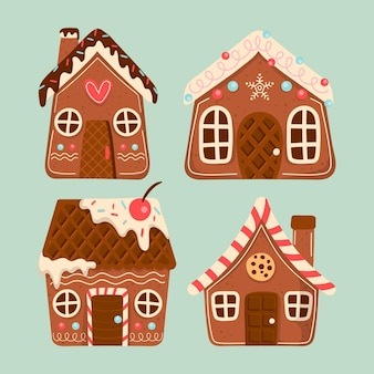 Коллекция рисованной пряничный домик
