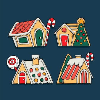 Hand drawn gingerbread house set