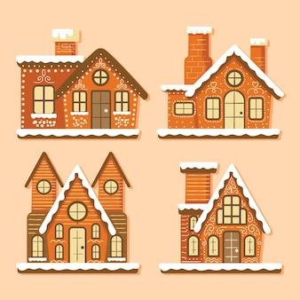 Hand drawn gingerbread house set