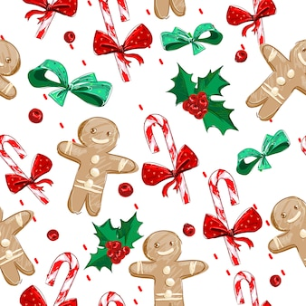 Hand drawn gingerbread man and christmas candy cane pattern