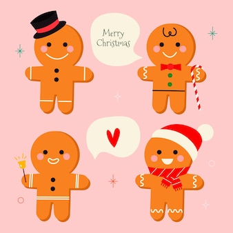 Hand drawn gingerbread man cookie collection on pink background