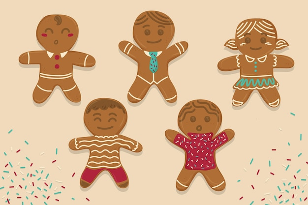 Hand drawn gingerbread man cookie collection