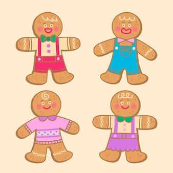 손으로 그린 진저 브레드 남자 쿠키 컬렉션