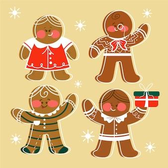 手描きのジンジャーブレッドマンクッキーコレクション