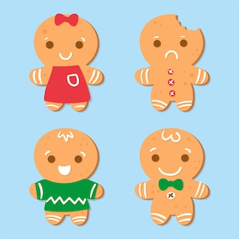 Hand drawn gingerbread man cookie illustration collection