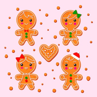 Hand drawn gingerbread man cookie set