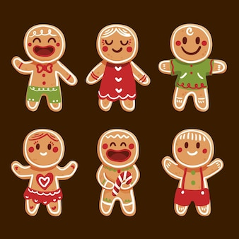 Hand drawn gingerbread man cookie set